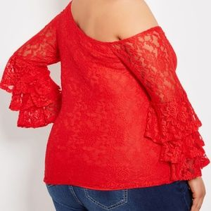 Ashley Stewart Tops - SEXY Red Lace One Shoulder Bell Sleeve Top 30/32